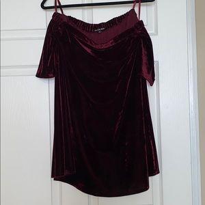 Gianni Bini red velvet strapless dress